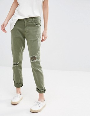 Current Elliott Slim Boyfriend Jeans With Rips