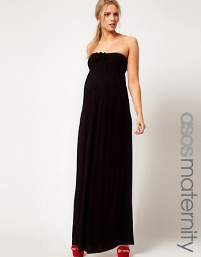 Image 1 ofASOS Maternity Maxi Dress With Ruched Bust