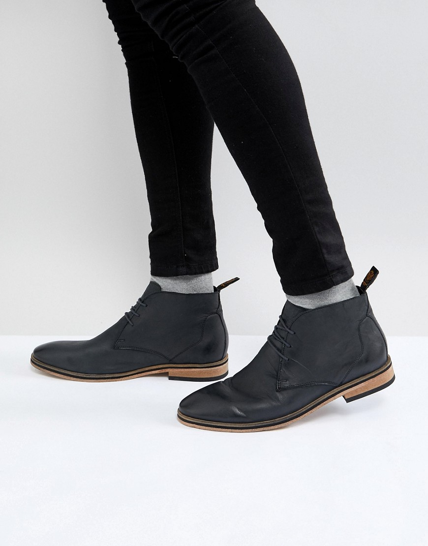 Superdry Leather Chukka Boots In Black Carbon black