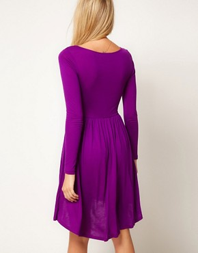 Image 2 ofASOS PETITE Exclusive Skater Dress With High Low Hem