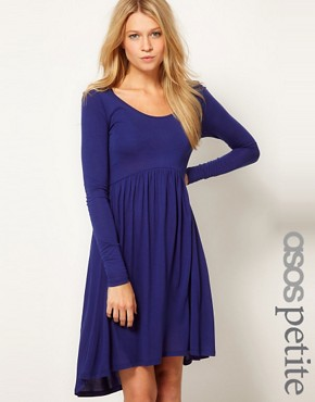 Image 1 ofASOS PETITE Exclusive Skater Dress With High Low Hem