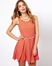 Glamorous Belted Skater Dress In Polka Print