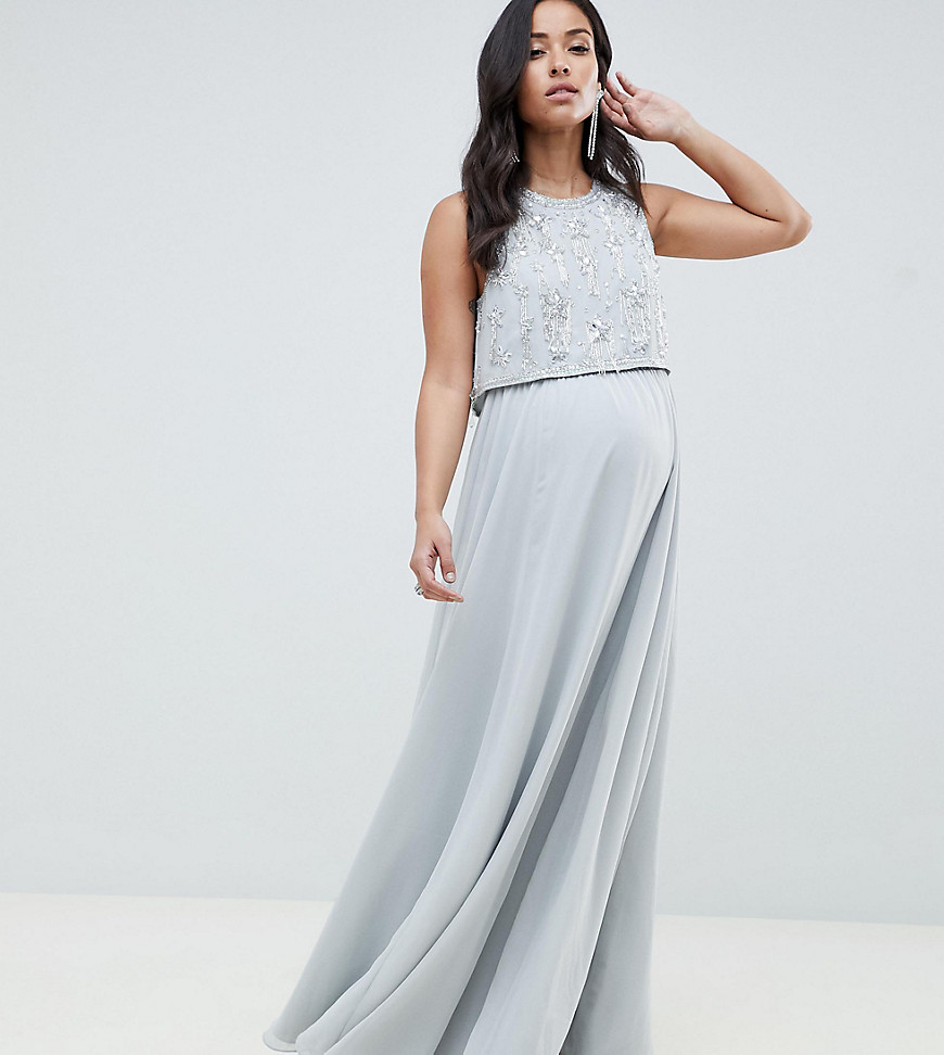 ASOS DESIGN Maternity star embellished crop top maxi dress