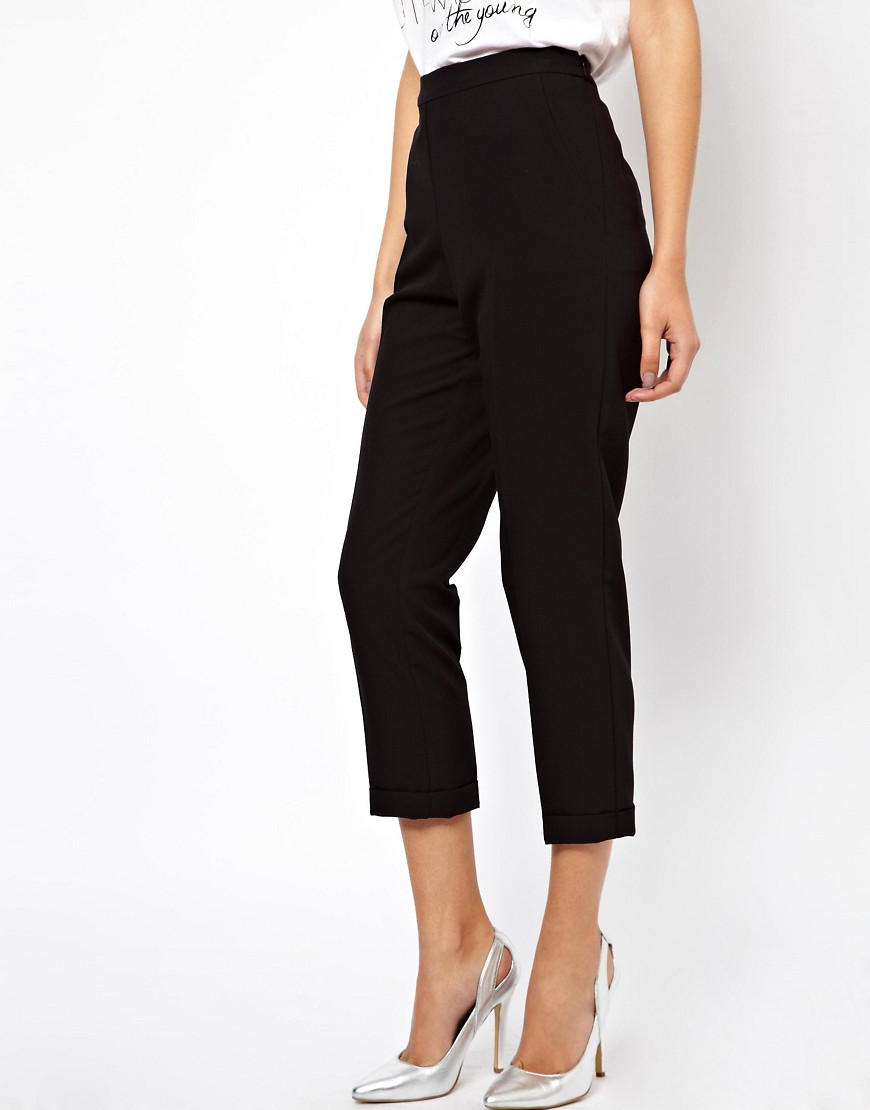 Image 4 ofASOS TALL Crop Trousers With Clean Waistband