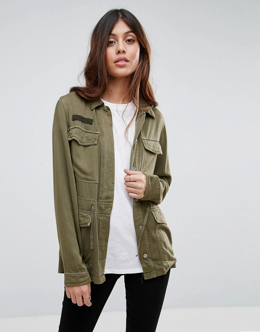 Vero Moda Washed Utility Festival Jacket - Green