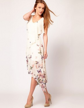 Image 1 ofWarehouse Butterfly Midi Dress