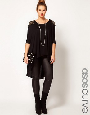 Image 1 ofASOS CURVE Exclusive Dip Back Top With Studs