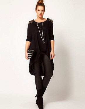 Image 4 ofASOS CURVE Exclusive Dip Back Top With Studs