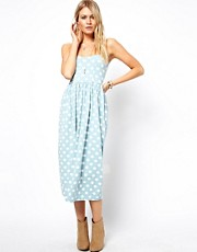 ASOS Midi Bandeau Sundress in Spot Print