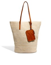 Pieces Gatu Woven Tote Cream Bag