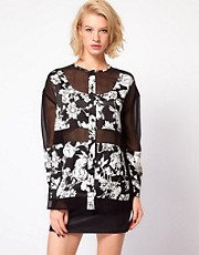 ASOS Shirt With Floral Print And Sheer Panels