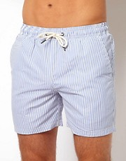 River Island Ticking Stripe Blue Swimshort