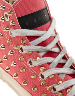 Image 2 of Gienchi Gapo Gold Studded High Top Sneakers