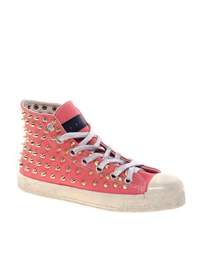Image 1 of Gienchi Gapo Gold Studded High Top Sneakers