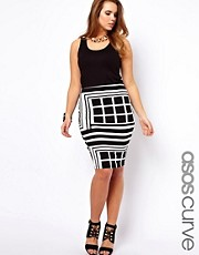 ASOS CURVE Pencil Skirt In Rocco Print