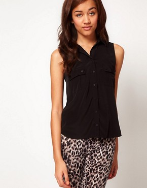 Image 1 ofRiver Island Sleeveless Pocket Shirt