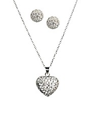 Love Crystal Hearts Shine Pendant &amp; Earring Set