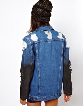 Image 2 ofASOS Denim Oversized Boyfriend Jacket with Rips and Coated Sleeve Detail