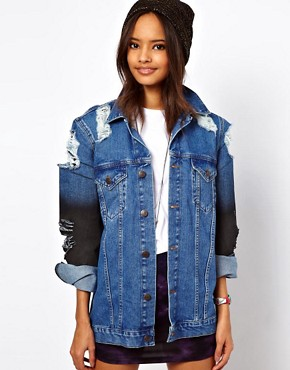Image 1 ofASOS Denim Oversized Boyfriend Jacket with Rips and Coated Sleeve Detail