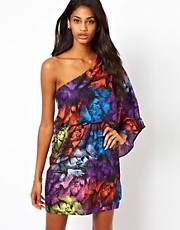 ASOS One Shoulder Feather Print Dress