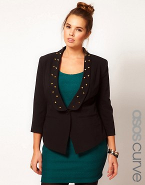 Image 1 ofASOS CURVE Exclusive Blazer With Studs