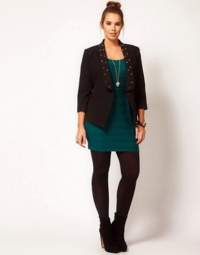Image 4 ofASOS CURVE Exclusive Blazer With Studs