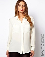ASOS CURVE Shirt With Utility Button