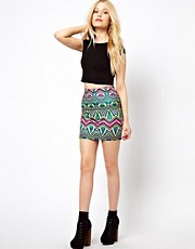 River Island Palm Print Mini Skirt