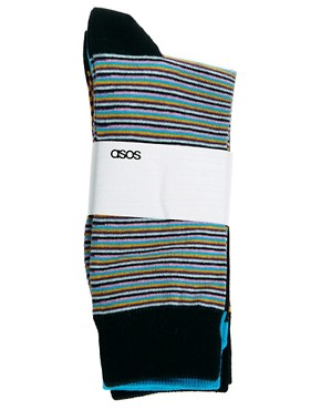 Image 3 ofASOS 3 Pack Multi Stripe Socks
