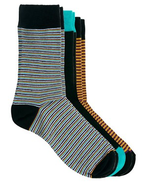 Image 1 ofASOS 3 Pack Multi Stripe Socks