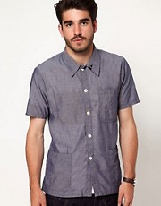 Denham Mao Shirt Short Sleeve Chambray