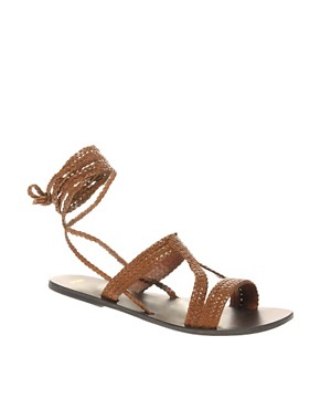 Image 1 of ASOS FIJI Leather Tie Up Flat Sandals