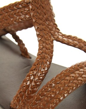 Image 2 of ASOS FIJI Leather Tie Up Flat Sandals