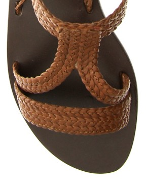 Image 3 of ASOS FIJI Leather Tie Up Flat Sandals