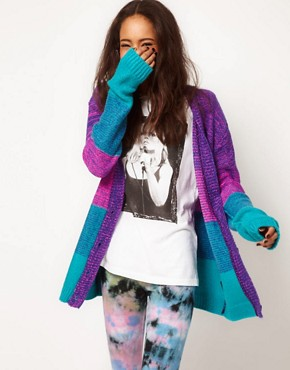 Image 1 ofASOS Bright Boyfriend Space Dye Cardigan