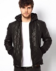 Barneys Originals Leather Quilted Bomber