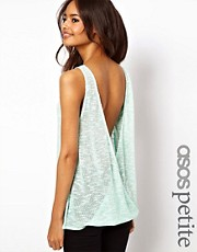 ASOS PETITE Vest in Cut and Sew with Open Twist Back