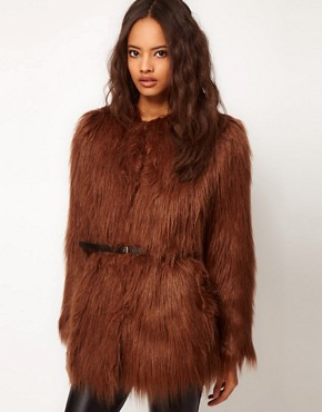 Image 1 ofASOS Shaggy Fur Belted Coat