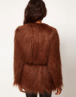 Image 2 ofASOS Shaggy Fur Belted Coat