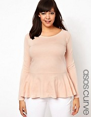 ASOS CURVE Exclusive Peplum Top in Soft Jersey with Sleeves