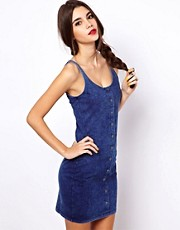 ASOS Bodycon Dress With Button Detail In Denim Wash