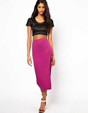 Oh My Love High Waist Midi Skirt with Thigh Split