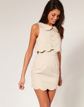 Image 1 ofASOS Pique Chelsea Scalloped Shift Dress