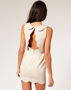 Image 2 ofASOS Pique Chelsea Scalloped Shift Dress
