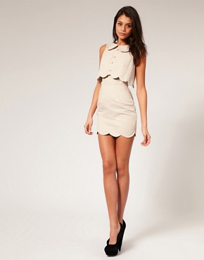 Image 4 ofASOS Pique Chelsea Scalloped Shift Dress