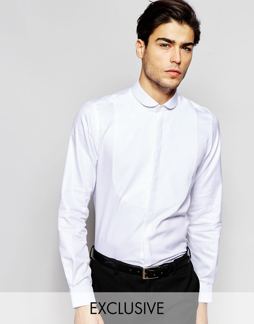 Hart Hollywood by Nick Hart Curve Collar Shirt with Bib in Slim Fit - White