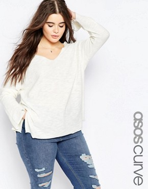 ASOS CURVE Jumper With V Neck And Split In Natural Yarn