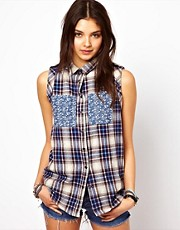 Chandelier Check Sleeveless Shirt