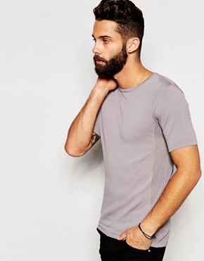River Island Short Sleeved Knitted T-Shirt with Mesh Sides