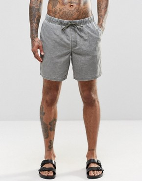 ASOS Mid Length Swim Shorts In Khaki Acid Wash